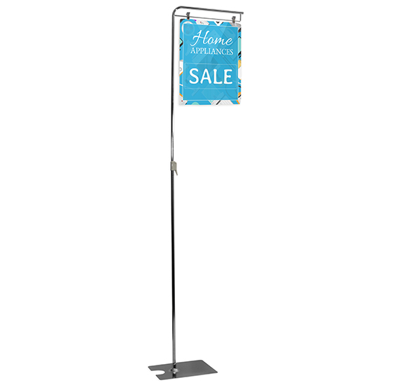 Metal Floor Display Stand with Short Banner