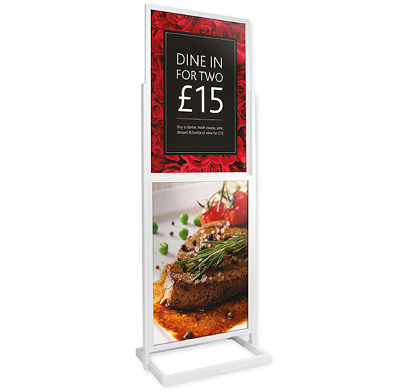 Poster Pillar Double Tier Silver