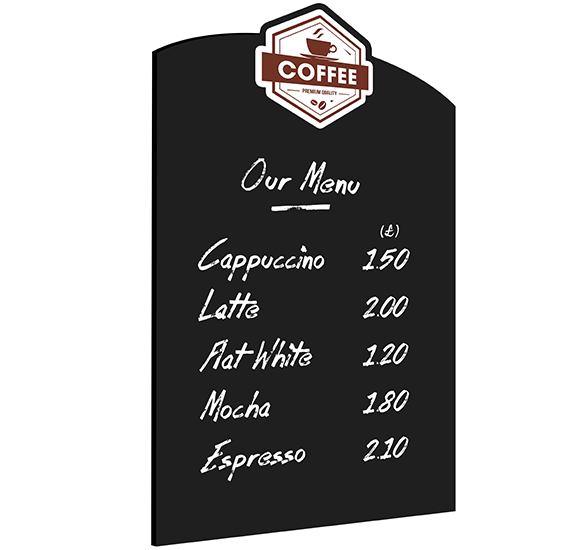 Wall Chalkboard Custom Shape Coffee Menu
