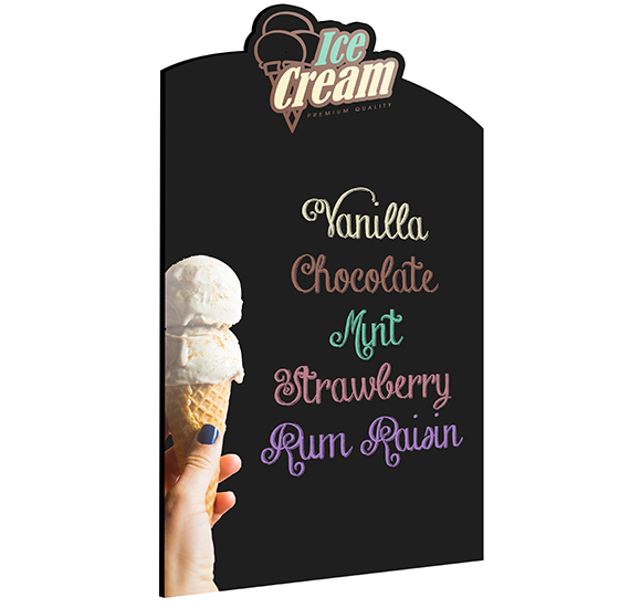 Wall Chalkboard Custom Shape Ice Cream Menu