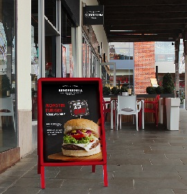 Custom Red A-Master on Pavement with Burger Poster