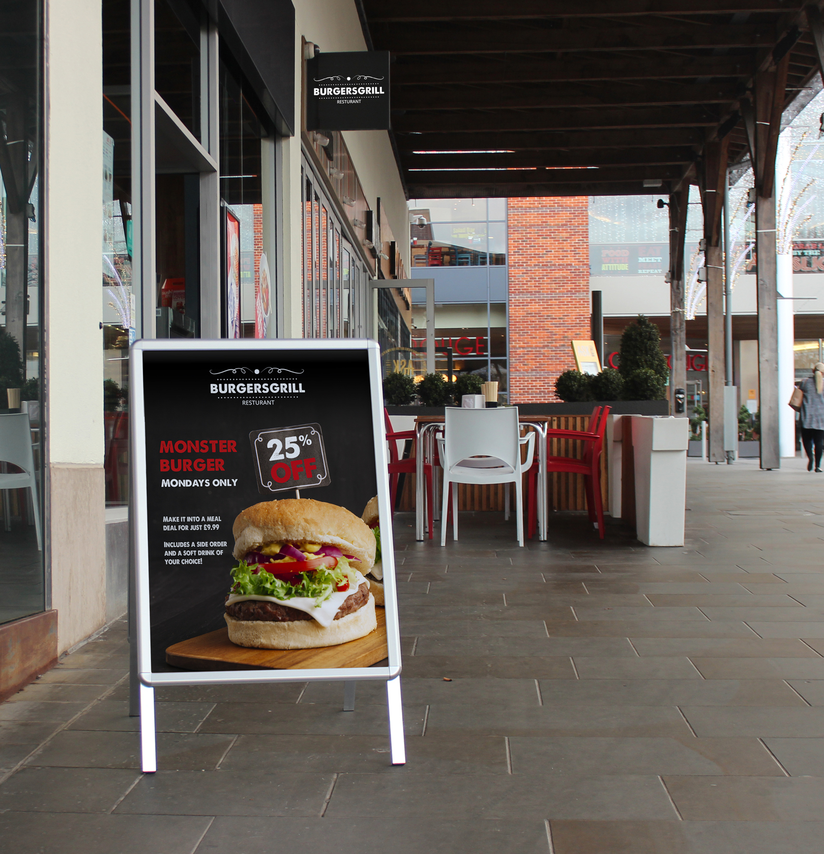 Silver A-Master on Pavement with Burger Poster