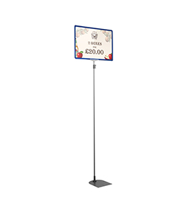 Blue A3 Tall Landscape Showcard Stand