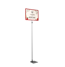 Red A3 Tall Landscape Showcard Stand