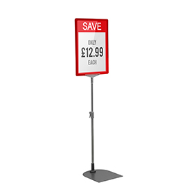 Red A4 Short Portrait Showcard Stand