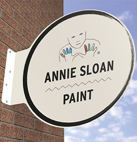 Round Wall Mounted Projecting Flange Sign with Ann