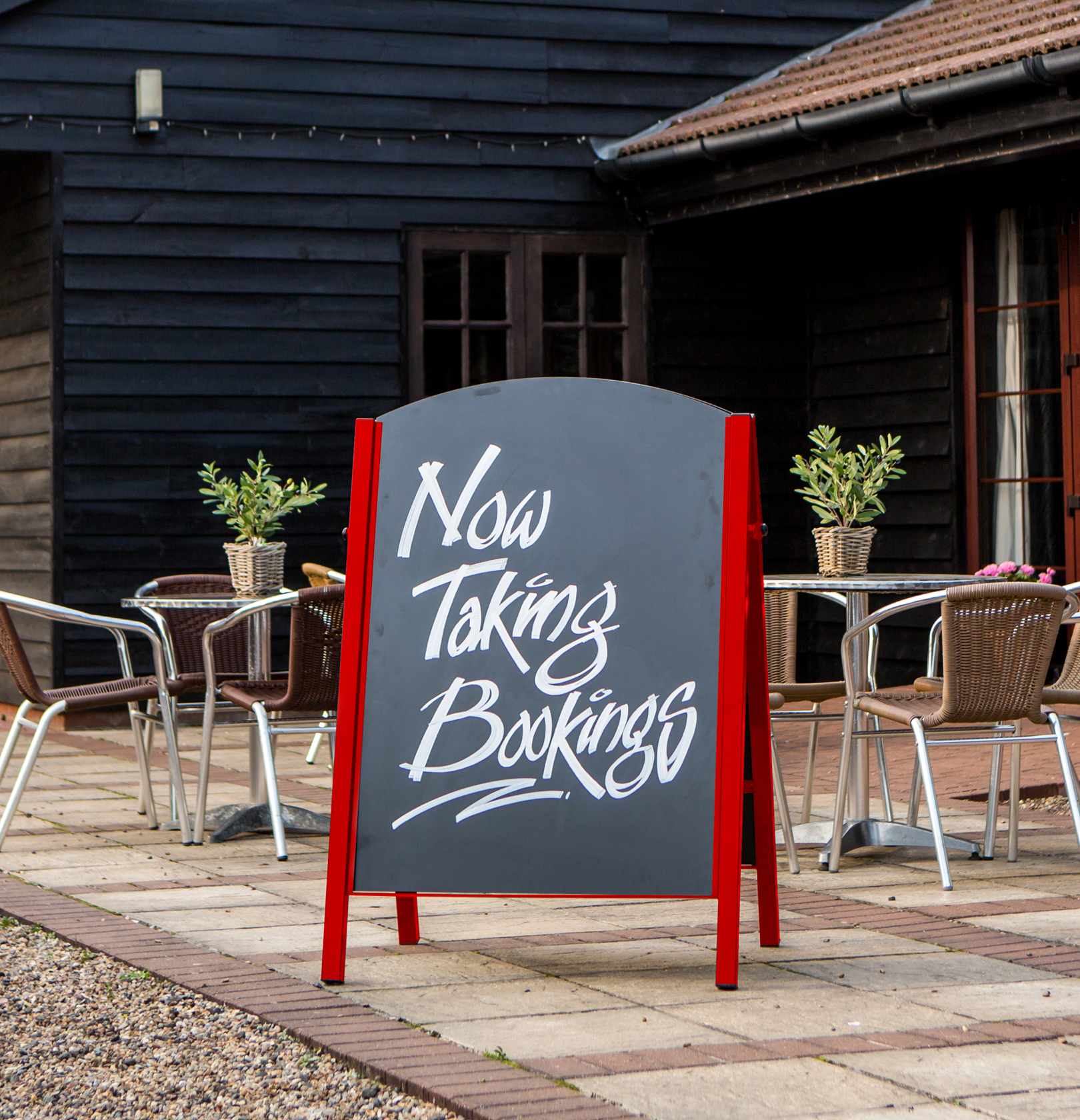 Custom Red Premier Chalk A-Board in Outside Dining