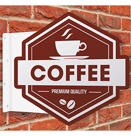 Custom Shape Flange Projecting Sign Coffee
