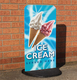 Ecoflexlite Pavement Sign- Ice Cream