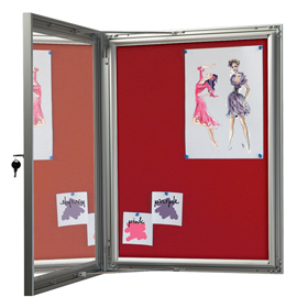 Red Felt Showboard with Open Door