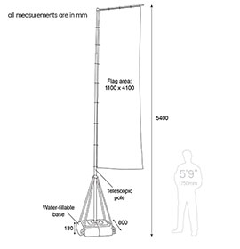 Diagram of Giant Pole with Flag