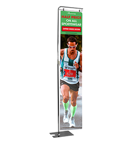 Metal Floor Display Stand with Long Banner