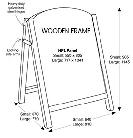 Diagram of Premier Chalk A-Board with Wooden Frame