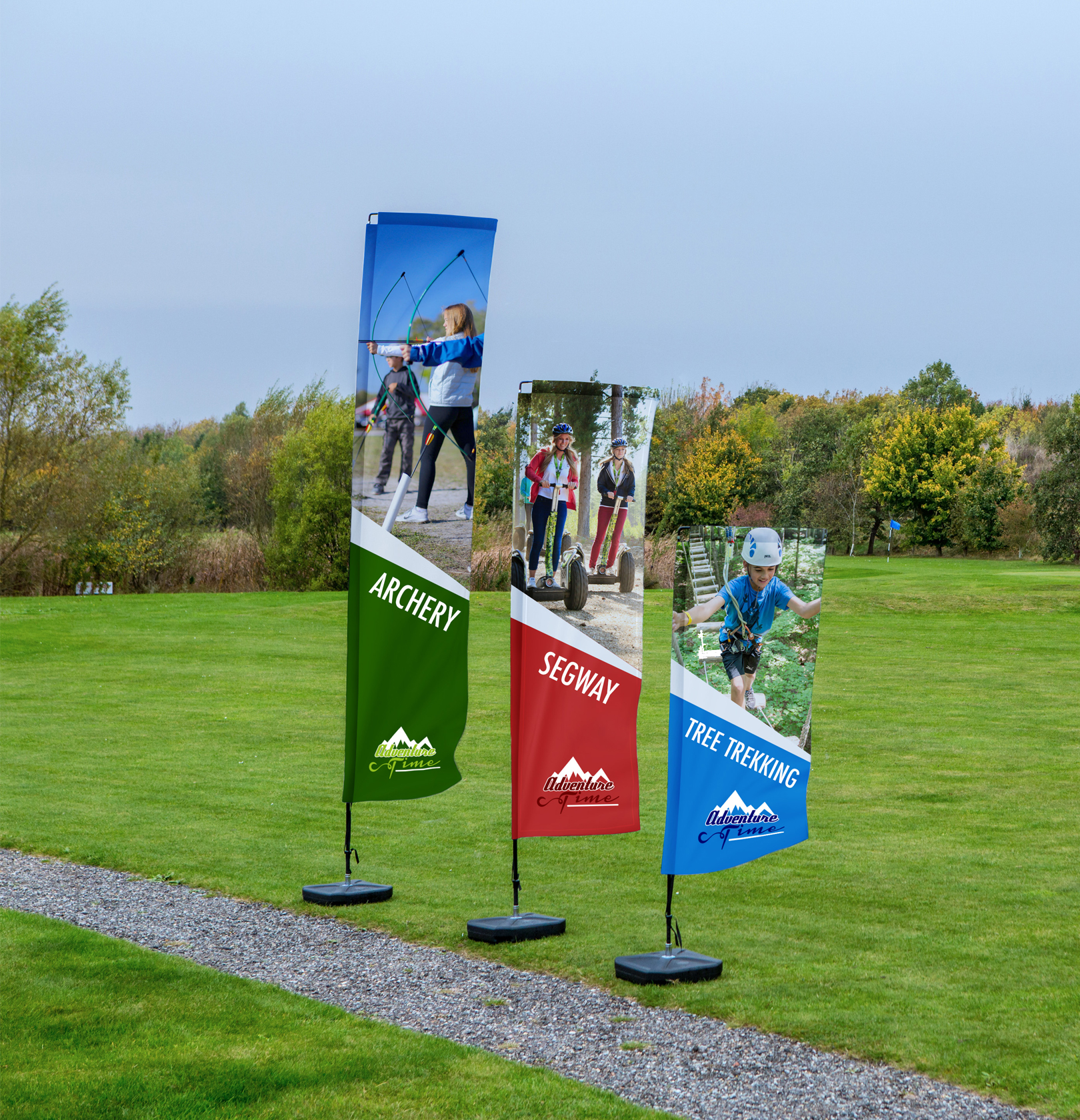 Small, Medium and Large Rectangular Banner with Ta