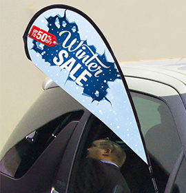 Sucker Flag On Car Showing Winter Sale