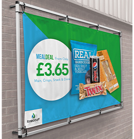 Wall Banner Frame at Petrol Station Forecourt